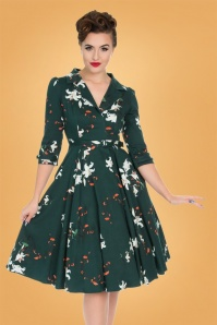 50s Dorothy Lily Flower Swing Dress in Green