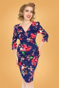 Hearts and Roses Purple Pink Floral Pencil Dress 100 69 26950 3