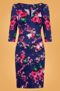 Hearts and Roses Purple Pink Floral Pencil Dress 100 69 26950 1