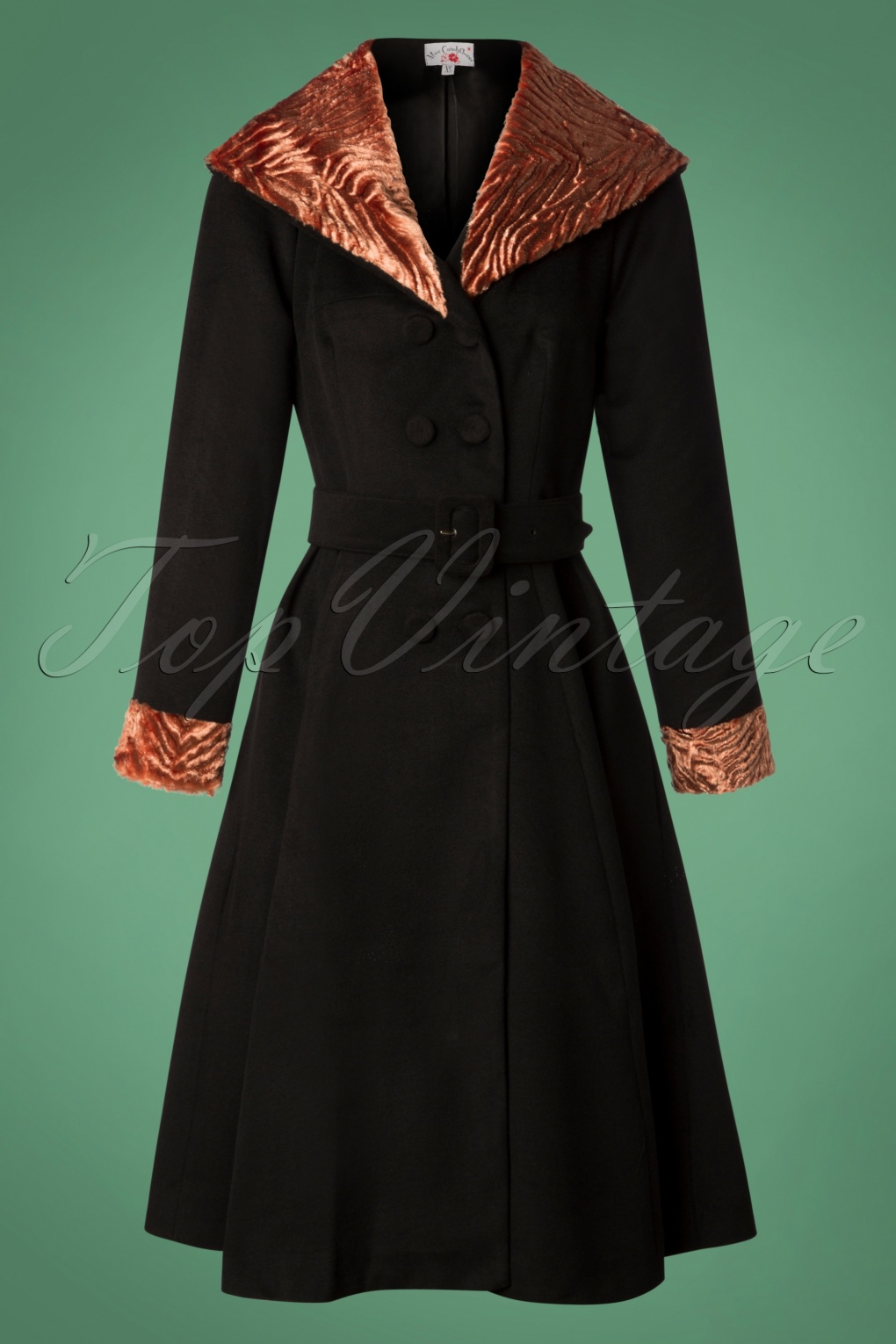 1950s Jackets, Coats, Bolero | Swing, Pin Up, Rockabilly 50s Amour Fur Swing Coat in Black and Rose Pink £147.69 AT vintagedancer.com