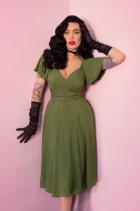 TopVintage exclusive ~ 40s Babydoll Dress in Olive