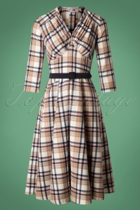 50s Miss C Signature Swing Dress in Tan Tartan