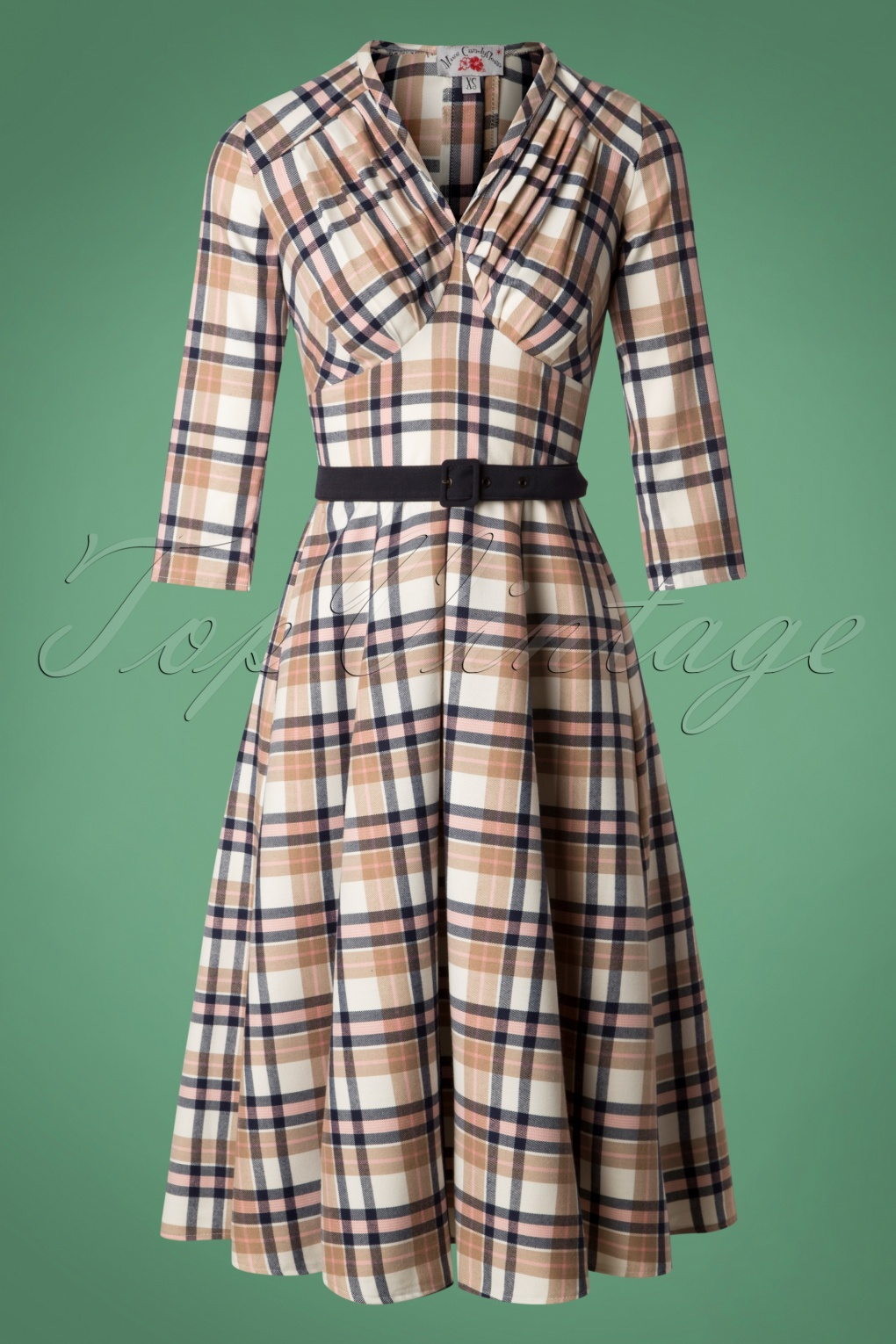 50 Vintage Inspired Clothing Stores 50s Miss C Signature Swing Dress in Tan Tartan £92.02 AT vintagedancer.com