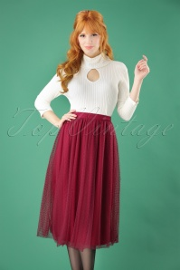 50s Timea Tulle Swing Skirt in Wine Red