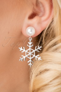 50s Snowflake and Pearl Earrings in Silver