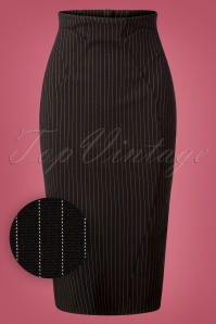50s Zoey Gia Pinstripe Pencil Skirt in Black