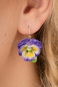 60s Porcelain Pansy Drop Earrings in Purple