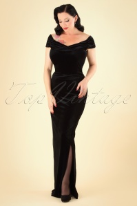 50s Beverly Velvet Maxi Dress in Black