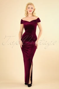 50s Beverly Velvet Maxi Dress in Claret
