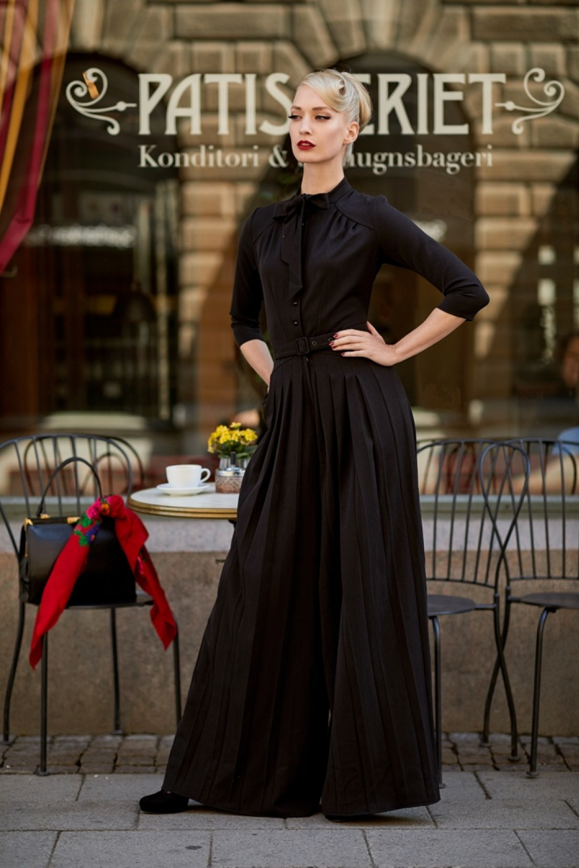 1940s Evening, Prom, Party, Formal, Ball Gowns 40s Bobinette Jumpsuit in Black £102.43 AT vintagedancer.com