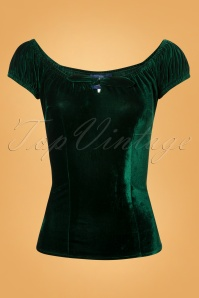 Collectif Clothing 50s Lorena Green Velvet Top 11 40 24870 20180626 0006W