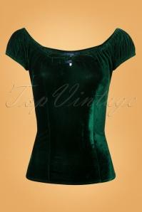 Collectif Clothing 50s Lorena Green Velvet Top 11 40 24870 20180626 0006W
