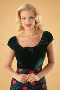 Collectif Clothing 50s Lorena Green Velvet Top 11 40 24870 20180626 1W