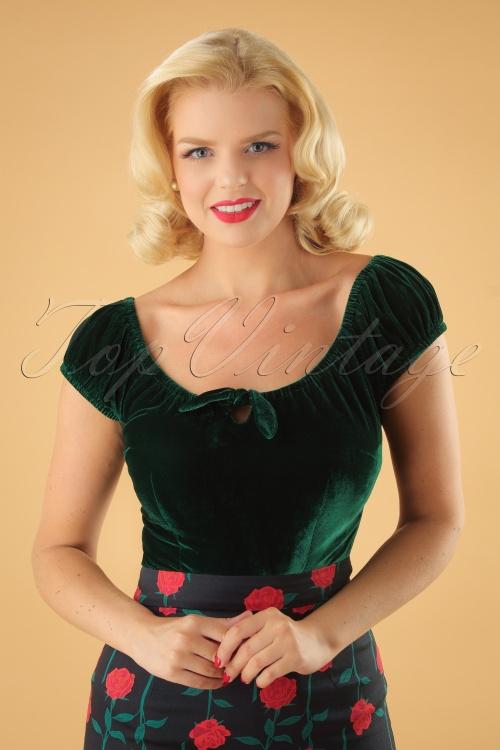 Collectif Clothing 50s Lorena Green Velvet Top 11 40 24870 20180626 1W