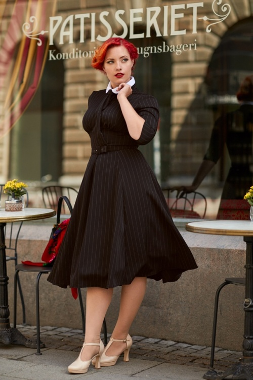 Women S 1940s Pants Styles History And Buying Guide: 40s Manon Lou Neck Tie Swing Dress In Black Pinstripes