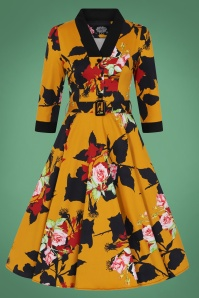Hearts and Roses Mustard Floral Dress 102 89 26943 1