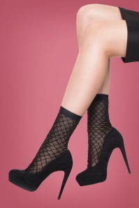 50s Lurex Diamond Fishnet Socks in Black and Silver