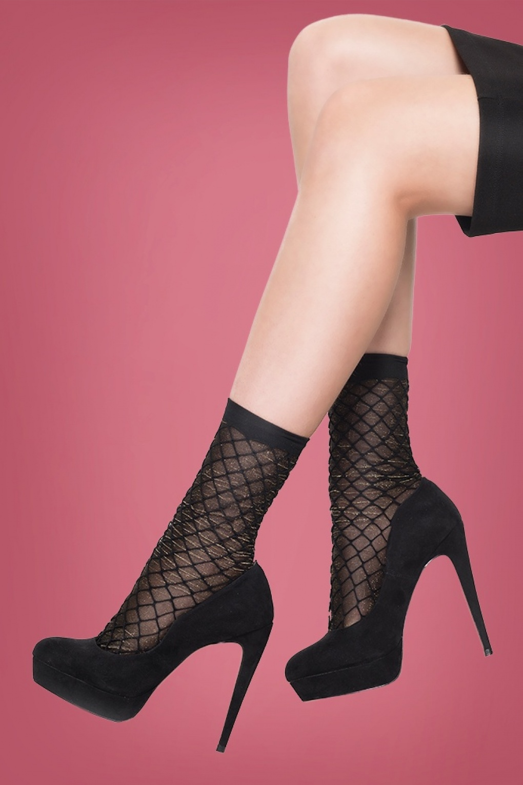 Seamed Stockings, Nylons, Tights 50s Lurex Diamond Fishnet Socks in Black and Silver £6.09 AT vintagedancer.com