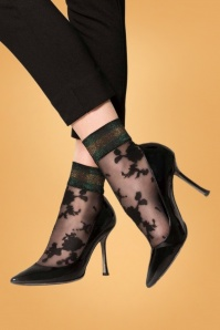 Marcmarcs 50s Lurex Cuff Flower Socks in Black