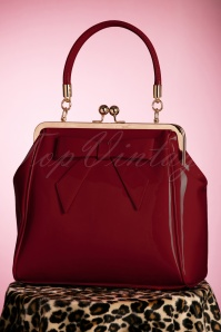 Banned Retro 50s American Vintage Patent Bag in Burgundy