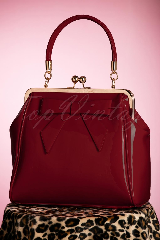 1950s Handbags, Purses, and Evening Bag Styles 50s American Vintage Patent Bag in Burgundy £36.39 AT vintagedancer.com