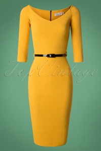 Neila Pencil Dress Années 50 en Jaune Moutarde