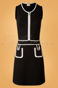 60s Hip Movements Mod Dress in Black and White