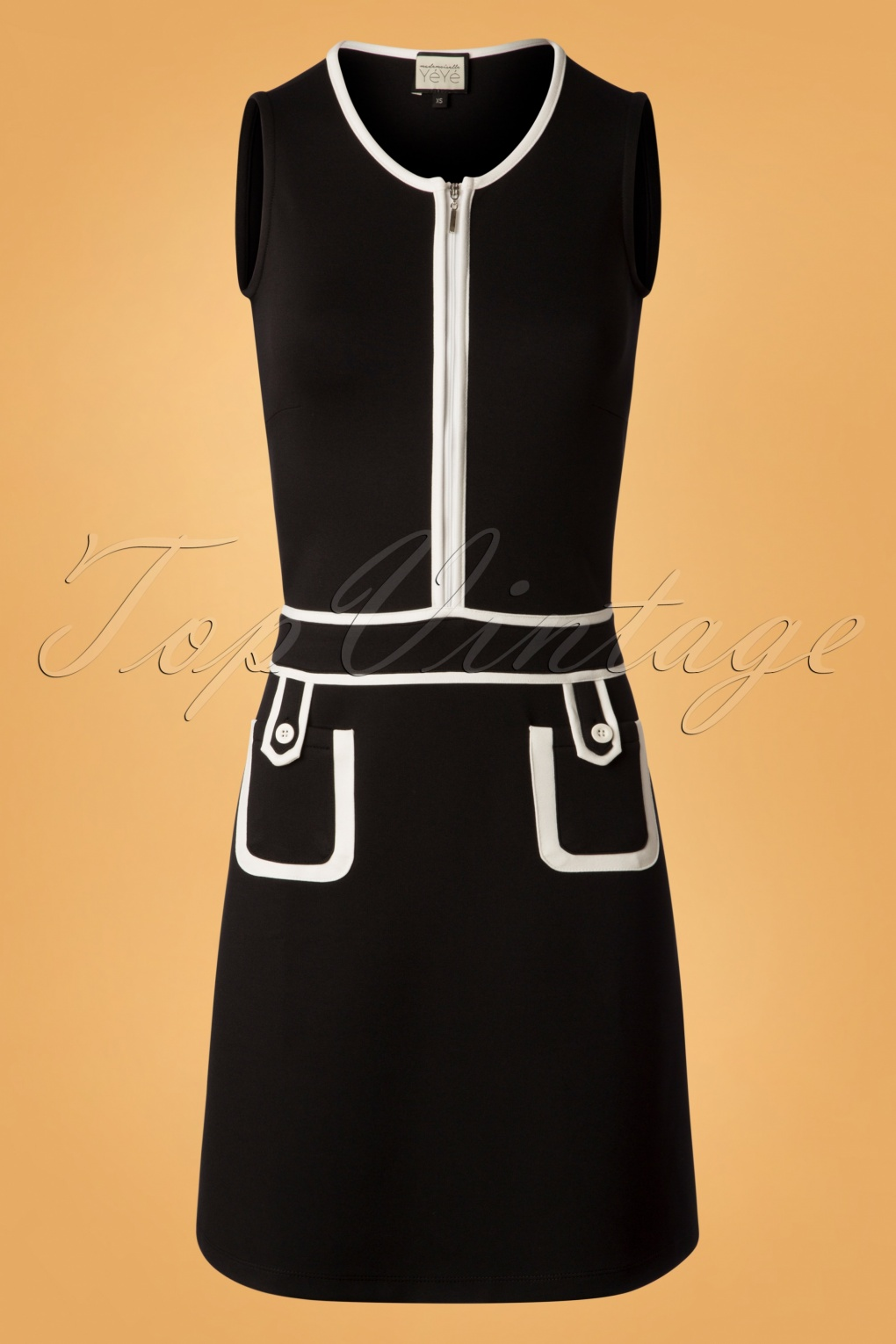 1960s Style Dresses, Clothing, Shoes UK 60s Hip Movements Mod Dress in Black and White £72.18 AT vintagedancer.com