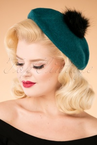 Louche 70s Stevie Wool Pompom Beret in Teal