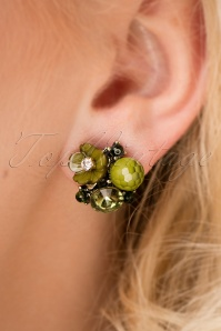 Zara Flower Stone Stud Earrings Années 20 en Vert