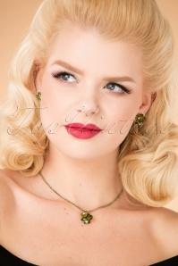 Zara Flower Stone Necklace Années 20 en Vert