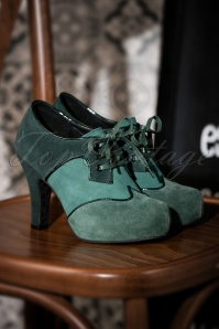 50s Angie Ton sur Ton Suede Booties in Green