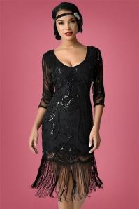 20s Margaux Fringe Cocktail Dress in Black