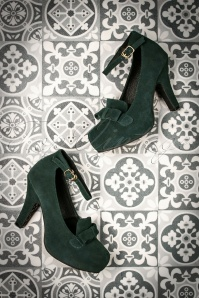 50s Angie Lift Me Up Suede Platform Pumps in Green
