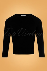 60s Sweater Girl Top in Black