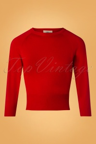 60s Sweater Girl Top in Lipstick Red