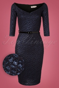 Vintage Chic Navy Lace Glitter Dress 100 31 28016 20181009 0002W1