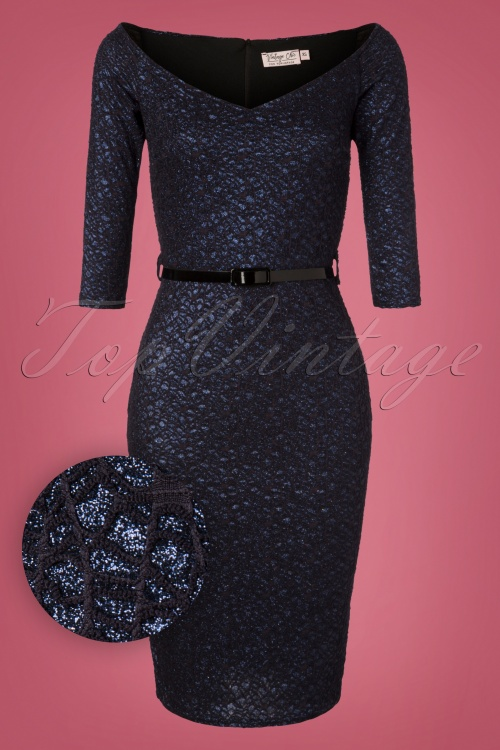 Vintage Chic Navy Lace Glitter Dress 100 31 28016 20181009 0002W1