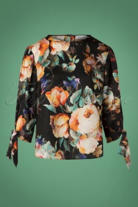 70s Bohemian Floral Blouse in Black