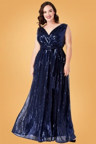 50s Doris Sequin Maxi Dress in Navy