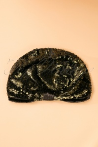 20s Sequins and Velvet Turban Hat in Green