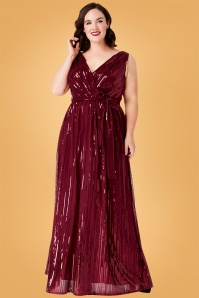 50s Doris Sequin Maxi Dress in Wine