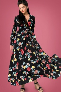 70s Farrah Floral Maxi Dress in Black