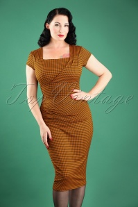 Vintage Chic Orange Gingham Pencil Dress 100 89 24767 20180227W