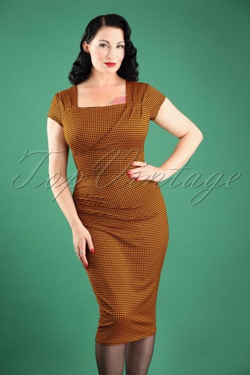 Vintage Chic Orange Gingham Pencil Dress 100 89 24767 20180227W