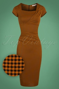 Vintage Chic Orange Gingham Pencil Dress 100 89 24767 20180227 0003W1