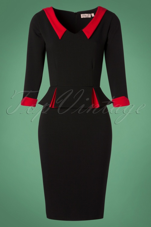 Vintage Chic Black Red Crepe Pencil Dress 100 10 26352 20181010 0009W