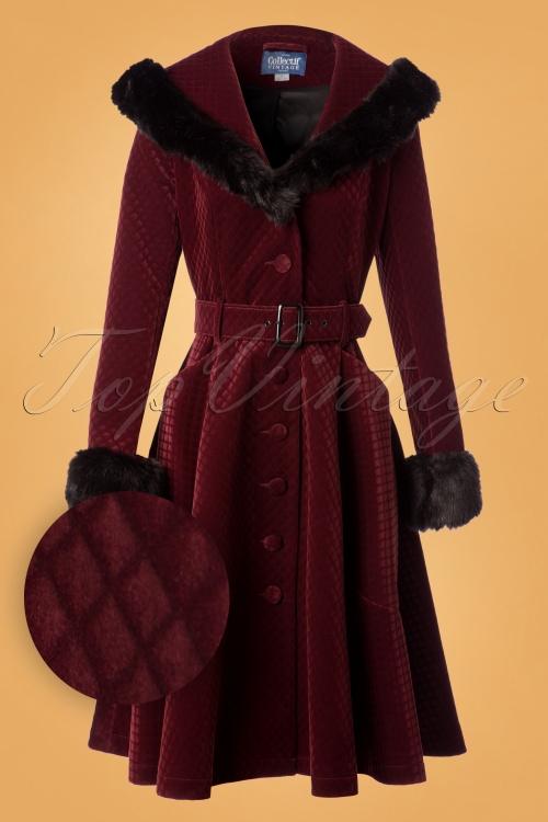 dc5e8c88f532 50s Callie Quilted Velvet Swing Coat in Wine