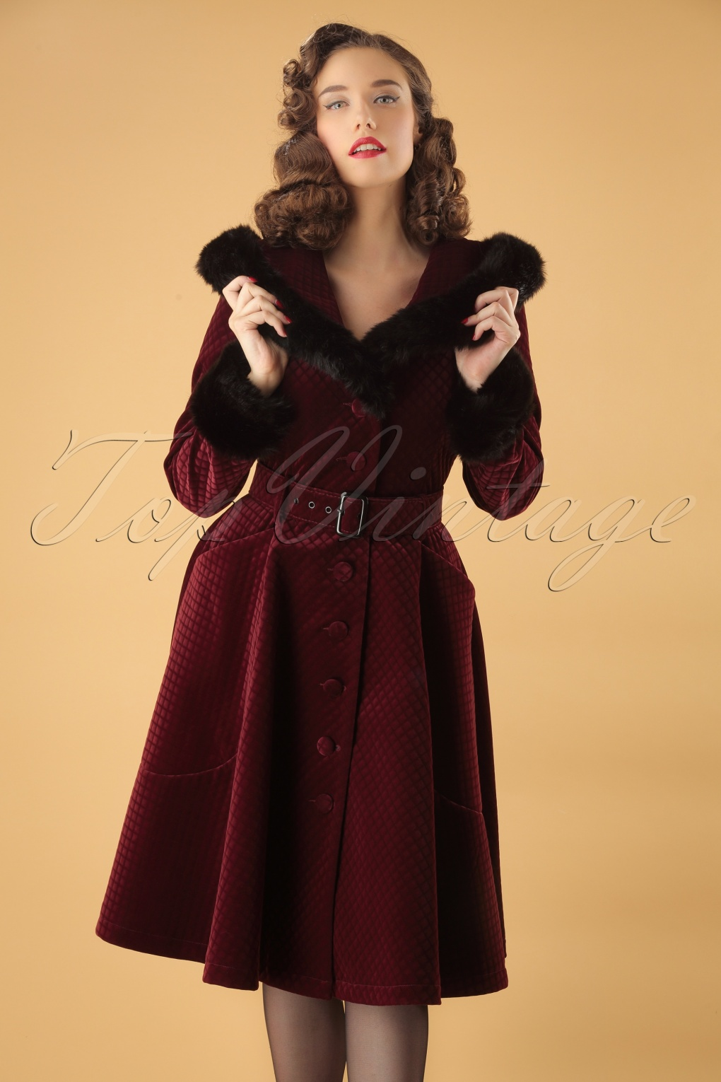 1950s Jackets, Coats, Bolero | Swing, Pin Up, Rockabilly 50s Callie Quilted Velvet Swing Coat in Wine £194.97 AT vintagedancer.com