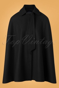 Collectif Clothing Caroline Cape Coat in Black 24785 20180704 0008W